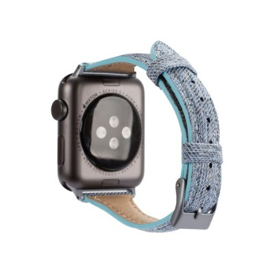 Promate Canvas Leather Replacement Band for Apple Watch Series 38/40mm with Metal Lock, Tartan Blue