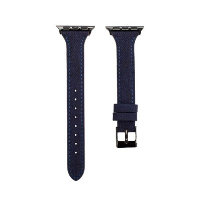 Promate Canvas Leather Replacement Band for Apple Watch Series 38/40mm with Metal Lock, Tartan D-BLUE