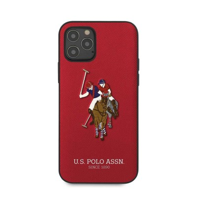 """U.S.Polo Assn.PU Hard Case Polo Embroidery for iPhone 12 / 12 Pro (6.1"""") - Red"""