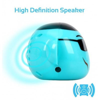 Promate Bluetooth Speaker, Portable Monkey Shape Multifunction Wireless Speaker with 3.5mm Audio Jack and Thumbs-up Adjustable Flexible Smartphone Holder for Tablets, Cell Phones, Ape Blue