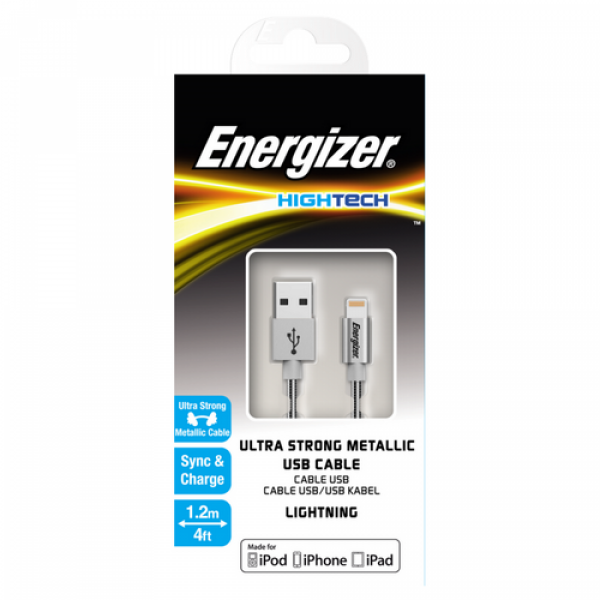 Energizer High-Tech iPhone Cable Alu Steel Lightning - Silver 1.2