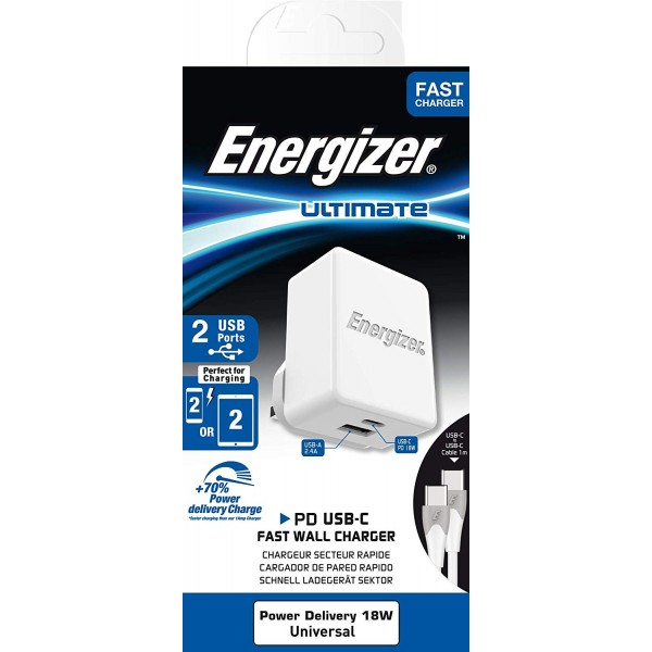 ENERGIZER WALL CHARGER 12 and 18W 1USB-C/1USB UK and USB-C2 Cable White Fast Charge