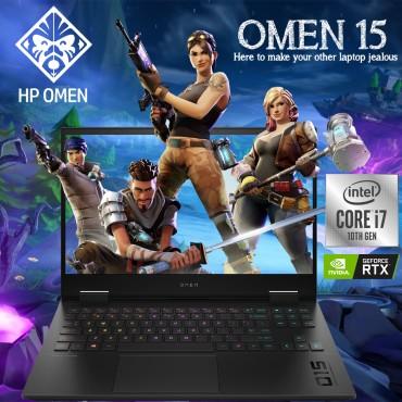 HP Omen 15T Gaming Laptop Core i7-10750H 16GB RAM 1TB + 512GB SSD FHD Nvidia RTX2060 6GB EN-AR Keyboard Black DH1012