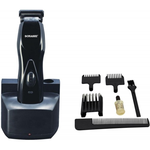 Sonashi Shc-1033, Rechargeable Hair Clipper (Black & Silver)
