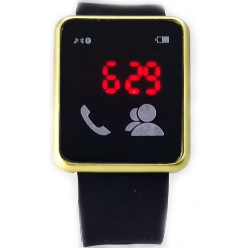 LED Touch Screen Red Light Watch  black gold