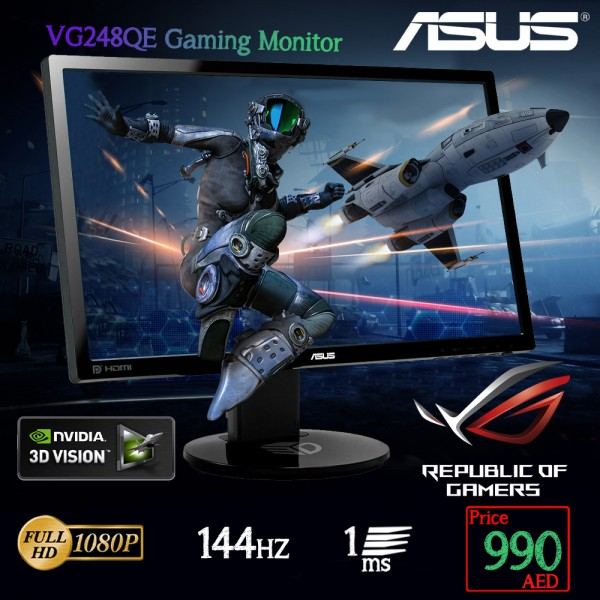 "ASUS VG248QE Gaming Monitor -24"" FHD (1920x1080) , 1ms, up to 144Hz, 3D Vision Ready"