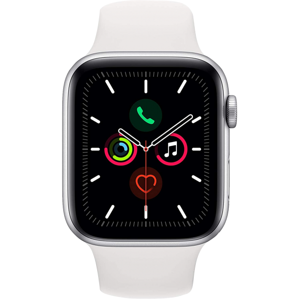 Apple Watch Series 5 44mm Silver Aluminum Case with White Sport Band GPS