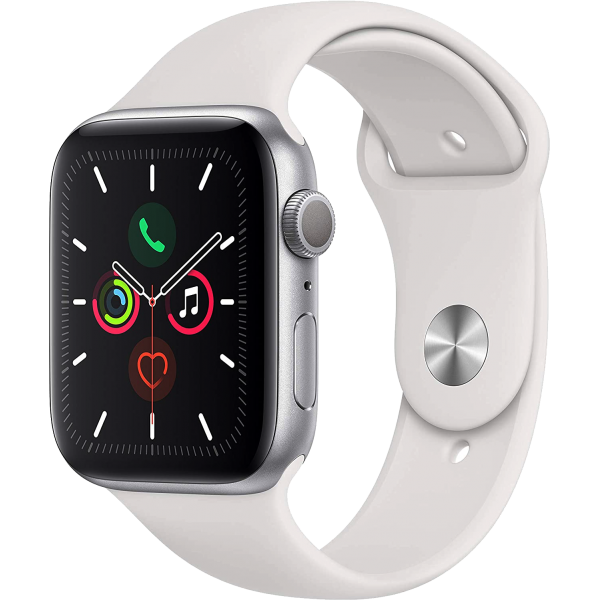 Apple Watch Series 5 40mm Silver Aluminum Case with White Sport Band GPS