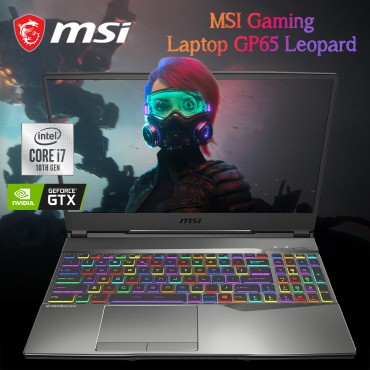 MSI Gaming Laptop GP65 LeoPard with Intel 10th Gen i7-10750H – 2.6 GHZ 16GB 512GBSSD 15.6 FHD 144Hz WL GTX1660 6GB BT+CAM WINDOWS 10 Home Black English Keyboard