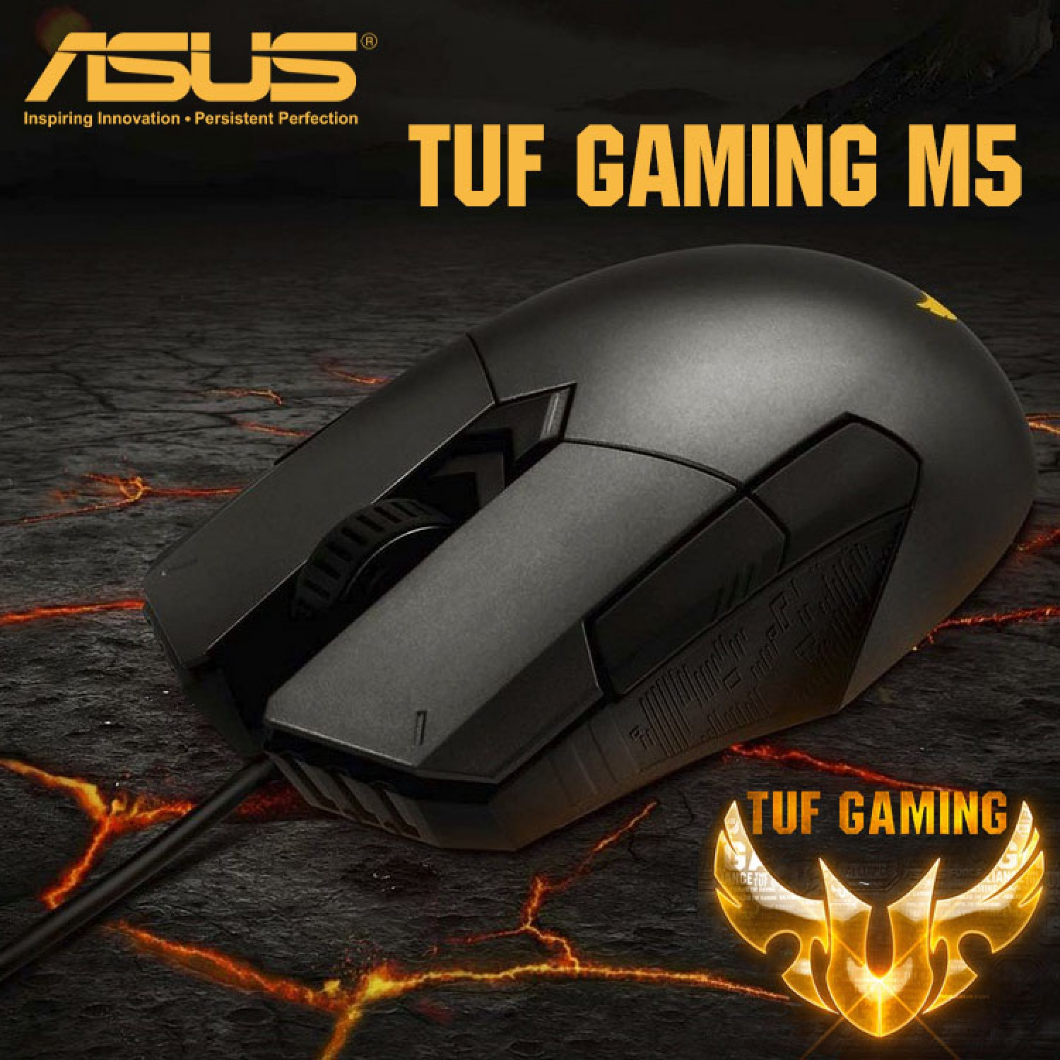 ASUS TUF Gaming M5 ambidextrous ergonomic RGB gaming mouse with gaming-grade optical sensor, durable coating, heavy-duty Omron switches and Aura Sync lighting   Godukkan.com