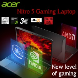 "Acer Nitro 5 Gaming Laptop AN515 Intel Core i7-10750H, 16GB, 1TB SSD, 4 GB NVIDIA GeForce GTX 1650, 15.6"", Dos, Eng keyboard -Black color + Gaming headset + Gaming mouse and Mouse Pad"
