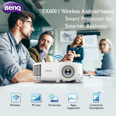 BenQ EX600 Smart Projectors with 3600lm,XGA -Wireless projection for instant mirroring - Internet connectivity offers app enablement - USB supported – completely PC free