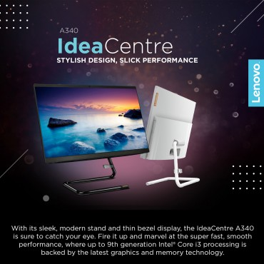 "Lenovo IdeaCenter AIO 340 -22 i3-10110U 4GB 1TB HDD DOS 21.5"" HD  none Touch 2GB AMD 530 A340 BLACK-F0EB00PSAX All in One PC"