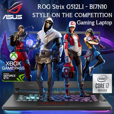 "Asus Gaming Laptop G512LI-BI7N10 10th Gen I7-10750H Memory 8GB  512GB SSD  Nvedia GTX1650TI 4GB DDR6 15.6""  AR-EN Keyboard Black Color Windows 10"
