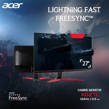 """ACER Gaming Monitor 27"""" 165 Hz 1MS (Full HD)1920 x 1080@165 Hz  KG271P Free Sync"""